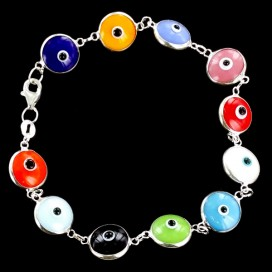 Ojo Turco pulsera multicolor de plata y vidrio