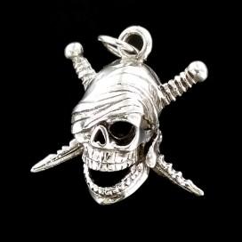 Simbolo Pirata Jolly Roger. Plata