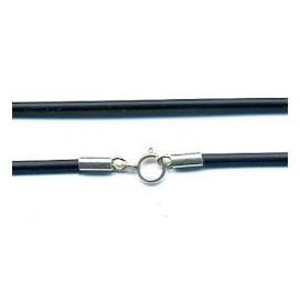 Cordon de caucho negro con cierre de plata