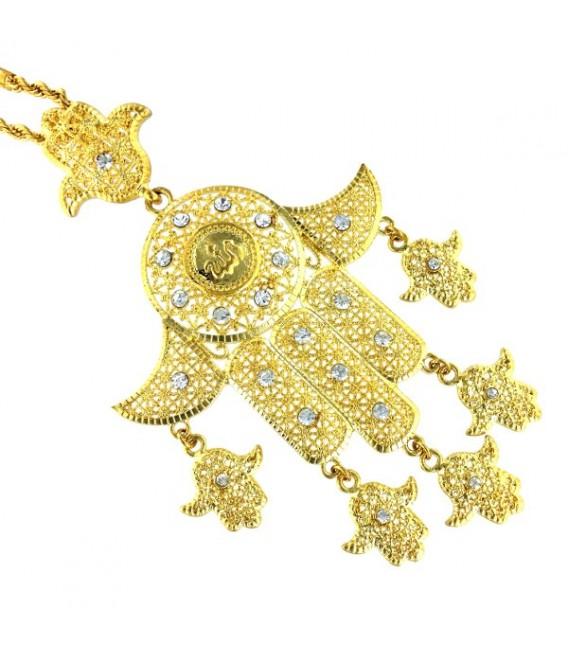 Colgante la Mano de Fátima de chapada de oro