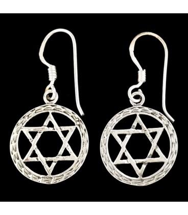 Pendientes Estrella de David de plata