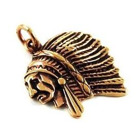 Jefe Indio. Colgante de bronce