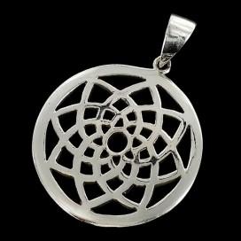 Mandala de plata. Colgante con cordon