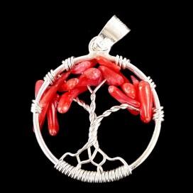 El Arbol de la Vida de plata con Coral