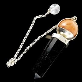 Pendulo de Turmalina y Cuarzo montado en plata de ley