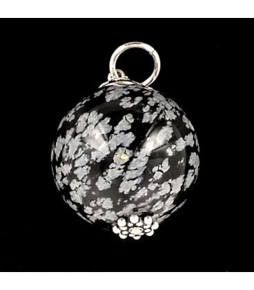 Obsidiana Nevada y plata. Colgante