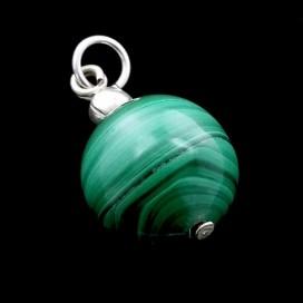 Colgante bola de Malaquita montada en plata