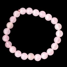 Pulsera de bolas de Cuarzo Rosa 8 mm