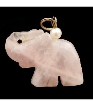 Elefante de Cuarzo Rosa y plata