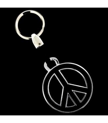 LLavero Simbolo de la paz en acero esmaltado