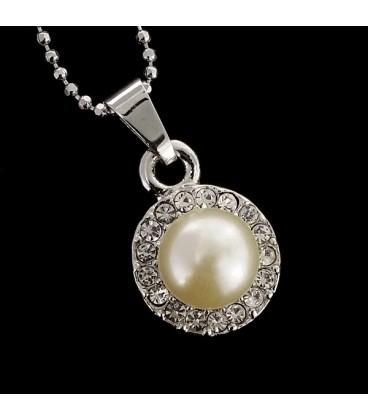 Perla con zirconitas bañado en plata