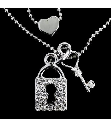 Candado y corazon con zirconitas bañada en plata