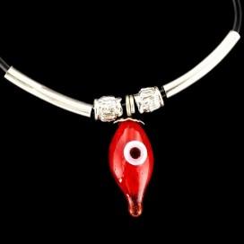 Colgante el Ojo Turco lagrima roja con cordon