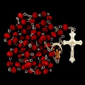 Rosario de madera  Papa Benedicto XVI granate