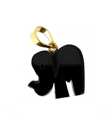 Elefante de azabache y oro