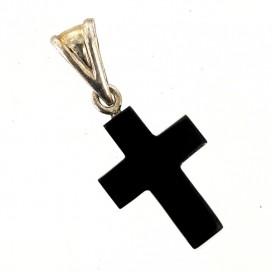 Cruz de azabache y plata