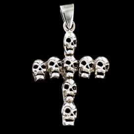 Cruz de Calaveras de plata