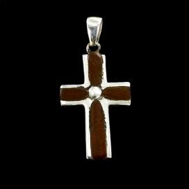 Cruz de madera y plata