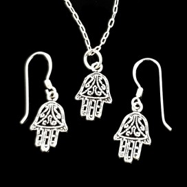 Hand of Fatima. Silver earrings and pendant