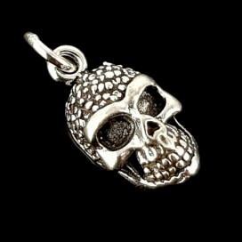 Skull with Rose silver pendant