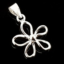 Flower.  Silver pendant with chain