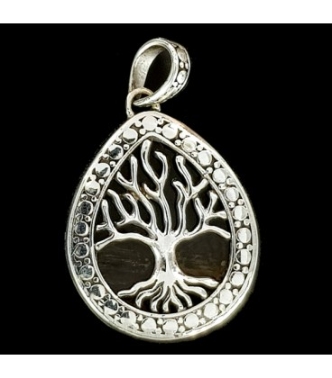 Silver and wood Tree of Life pendant