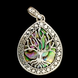 Silver and nacre Tree of Life pendant