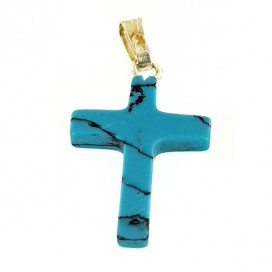Turquenite Cross with Silver Chain