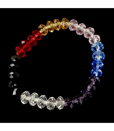 Los 7 chacras  Pulsera elastica de cristal