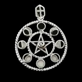 Silver moon pentacle