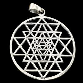 Sri Yantra. Silver pendant