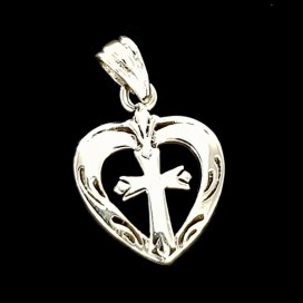 Sacred Heart. Sterling silver