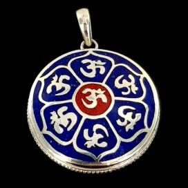 Mantra Om. Colgante de plata de ley con Lapislázuli y Jaspe rojo