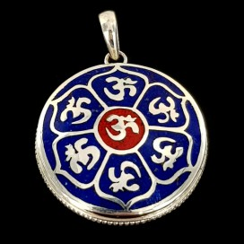Mantra Om. Lapis Lazuli and red Jasper inlaid on Sterling silver pendant