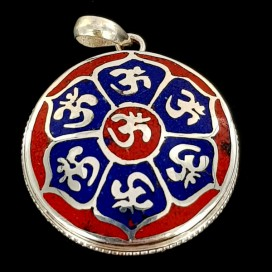 Mantra Om. Red Jasper and Lapis Lazuli inlaid on Sterling silver pendant