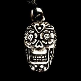Mexican Skull. Catrina. Pewter pendant