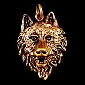 Wolf bronce pendant