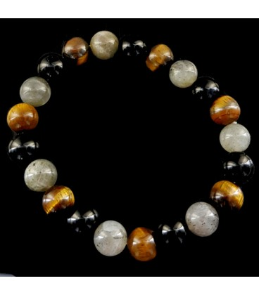 TRIPLE FORCE AND PROTECTION: Tiger's eye, Onyx and Labradorite Magic Bracelet.