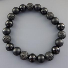 Onyx, Matte Onyx and Lava Bracelet