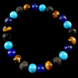 Triple Balancing Bracelet. Lapis Lazuli, Lava, Tiger Eye and Blue Howlite