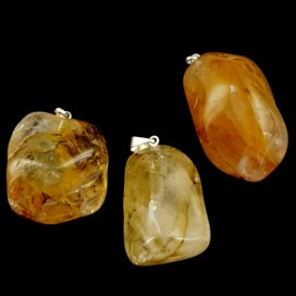 Lemon Quartz and silver pendant