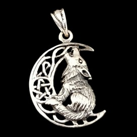 Wolf howling at the moon. Sterling silver pendant