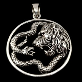 Sterling silver Snake and Lion pendant.