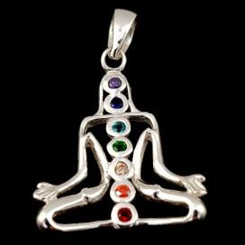 Símbolo de la Meditación. Colgante Yogui de plata de ley