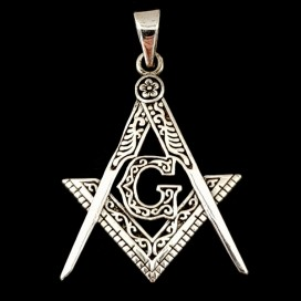 The Masonic Square and Compasses. Sterling silver