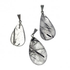 Quartz and Tourmaline pendant