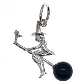 Silver and Obsidian Lucky Witch pendant